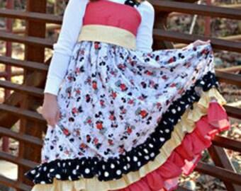 Instant Download Long Ruffle Dress PDF Pattern Girls Size 8-16 Sewing Pattern Tutorial E Book
