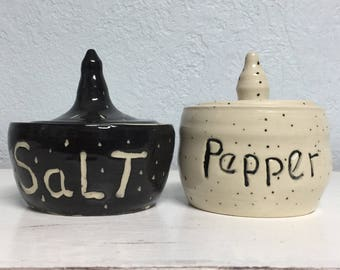 Salt and Pepper Jar Handmade Wheel Thrown Pottery, Black and White. Carved