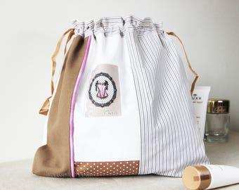 sac à lingerie motif guêpière de PARIS, style vintage, Pochon à sous vêtements, Sac de voyage, idée cadeau saint valentin, sac à linge