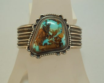 Ray Delgarito Signed Sterling Turquoise Cuff Bracelet