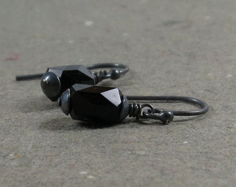 Vintage Black Glass Bead Earrings Oxidized Sterling Silver Simple Minimalist Earrings