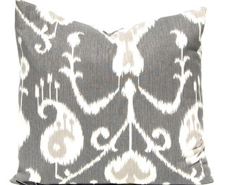 Gray Ikat Pillow Cover - Pewter Gray Pillow Covers - Ikat Cushion - Decorative Pillow Covers - Charcoal Gray Throw Pillow Cover