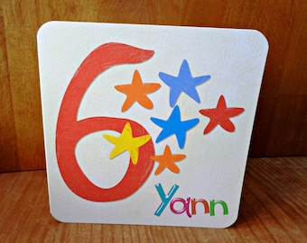 Greeting card birthday customize (6, 7, 8 or 9 years old and the child's name) 15cm x 15cm hand made original design