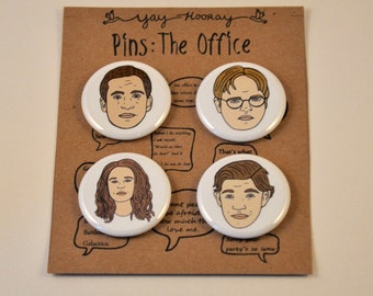 The Office Cast, pin button badges, magnets hand drawn illustrations, Michael Scott, Dwight Schrute, Pam Beesly, and Jim Halpert
