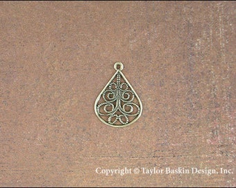 Drop Earring Filigree Component in Antiqued Polished Brass (item 2504 AG) - 6 pieces
