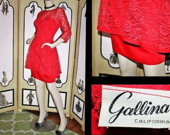 Vintage 60's High Low Peplum Dress is Red Lace from GALLINA. Very Beautiful. Small.