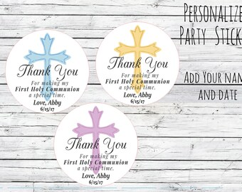 First Communion Cross Stickers, Holly Communion , Gift Labels, Cross, Christening Stickers, Religious Stickers, Catholic Favor