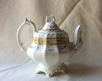 Antique English Tea Pot -Staffordshire Pottery- Country House Style