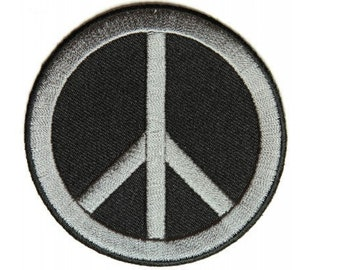 Peace Sign Iron On Patch Gray On Black - 3 x 3 inch Free Shipping P4871