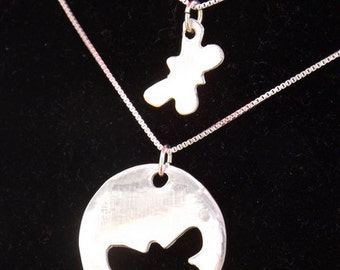 Mommy and Me Butterfly necklace set, Mother Daughter butterfly necklace set, Mother's Day gift, First Day of School gift, Back to School