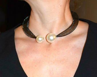 Unique Beaded Necklace Custom Collar Necklace Black Bib Choker Statement Short Necklace Unique Women Beaded Custom Jewelry Trending now