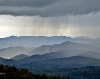 Mountain Photography, Landscape Photography, Blue Ridge Mountains, Smoky Mountains, Wall Art, Home Decor, Rain, Mt Rain