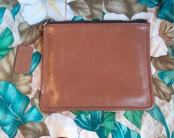 Vintage COACH Skinny Cosmetic Makeup Wallet Coin Saddle Brown Leather Bag Zippered Case