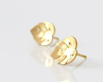 Monstera Earrings - Tiny Stud Earrings - Gold Stud Earrings - Silver Stud Earrings - Tropical Earrings - Leaf Earrings - Palm Leaf Earrings