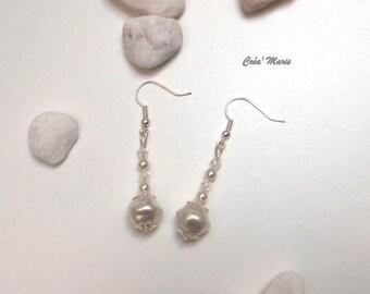 White soft snow Bo159 earrings