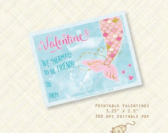 Mermaid Valentine Printable Cards or Labels valentines day card printable. tail under the sea editable text digital pdf instant download