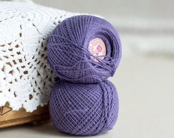 Lavender dark lilac_vintage cotton threads_thread balls_set of two_pure cotton threads_sewing crocheting_thread skeins_Valentines Day Party