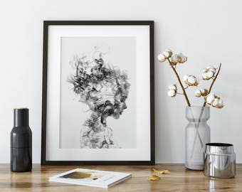 Black and White Art Print, Black and White, Black and White Home Decor, Surreal Portrait, Smoke Portrait, Wall Art, Wall Decor
