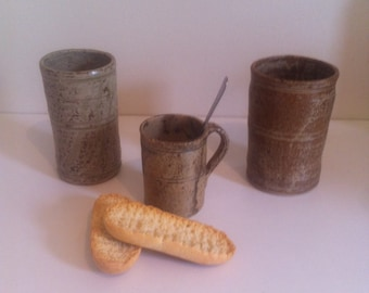 French small pottery cup  // hand-made // mug // chestnut // thea and coffee // France