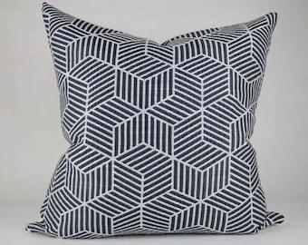 Navy Geometric Pillow Cover // hand made home, throw pillow, modern metal zipper, neutral, home decor, lumbar, tumbling blocks, navy & white