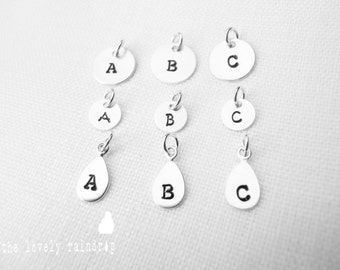 """Customized Sterling Silver 1/4"""", 3/8"""" and Raindrop Charms -  Hand Stamped Initial - Personalized Charm - Add On - Custom Jewelry - Simple"""