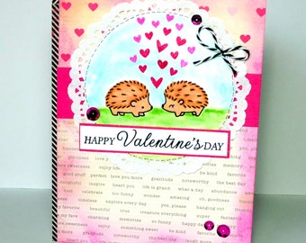Happy Valentines Day Hedgehogs Greeting Card - Handmade Paper Card for Him or Her