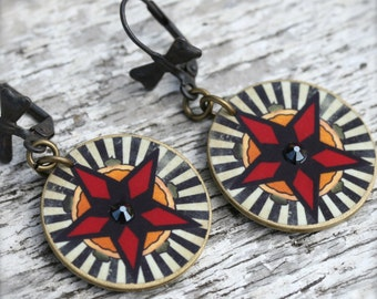 Tattoo Star Earring - Star Earring - Tattoo Earring - Star Jewelry - Tattoo Jewelry - Cowgirl Star - Tattoo - Rhinestone - Shrink Plastic