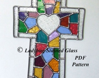 PDF PATTERN For Stained Glass Cross With Heart *(Pattern Only)*