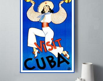 Cuba Poster, Cuba Printable Art, Visit Cuba Print, Cuban Travel Poster, Vintage Cuban Travel Poster, Cuban Dancer, Caribbean Travel Print