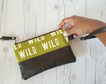 Olive Green Wristlet, Wristlet Wallet, Womens Wallet, Faux Leather, Small Crossbody, Phone Wallet, Wristlet Purse, Wild One, Bridesmaid Gift
