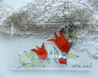 Fused glass plate,painted fused plate,rectangle red pomegranate plate,fused soap dish,painted soap plate,plate with pomegranate