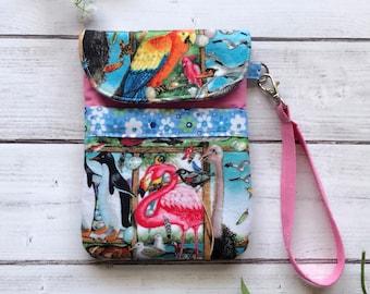 Birdwatching/birds smartphone wristlet, cellphone pouch, travel bag, gadget pouch, eco friendly