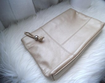 Vintage Pearlescent Gold Clutch Purse ~ Soft Genuine Leather ~ Neutral Glam