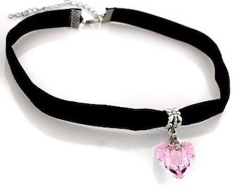 Velvet Choker Necklace with Austrian Crystal Charm