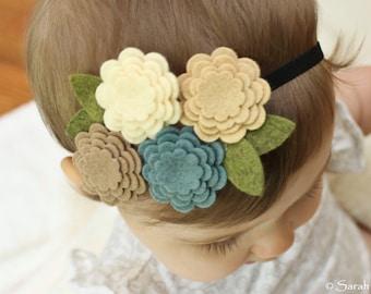 Creamy Blue Wool Felt Flower Headband