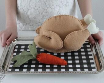 Felt Food Felt Chicken/Turkey With Detachable Parts Pretend Food Play Set** New Magnetic Construction**