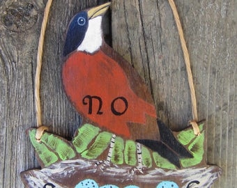 ROBIN'S NEST No Soliciting Sign - Original Hand Painted Wood