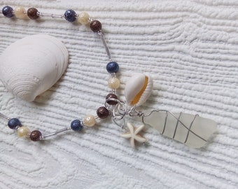 Sea glass necklace with pearls. Sea glass jewelry.