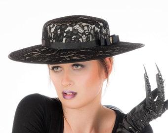 Castilla - Black Lace Boater Hat
