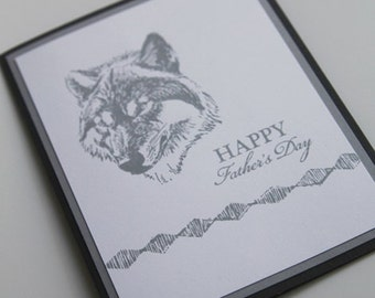 Grey Wolf Father's Day Card, Thinking of You Dad Greeting Card, Hand Made Card for Grandfather, Stepdad Note Card