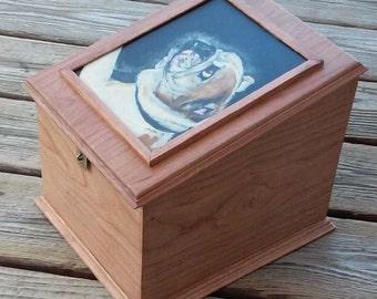 Pet urn , pet memorial box , large pet urn, custom portrait of pet on memorial box, oversized urn to hold pet leash pet toy