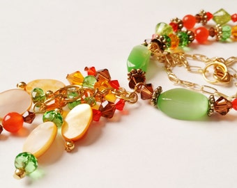 Orange Green and Brown Necklace, Glass Jewelry, Mother of Pearl, Fall Swarovski Necklace