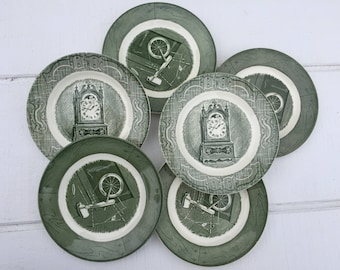 Vintage Royal China, Old Curiosity Shop Colonial Homestead Plates, Green and White China Dessert Bread and Butter Plates, Royal USA China