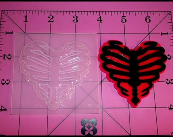 Ribcage Heart Flexible Plastic Resin Mold (Large)