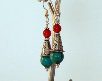 Turquoise Earrings Boho Earrings Natural Gemstones Dangle Earrings 925 Sterling Silver Earrings Turquoise Jewelry Bohemian Jewelry