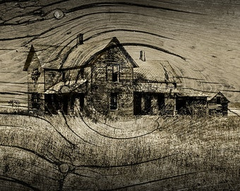 Abandoned Old Farm House with Wood Grain Overlay in Midwest Michigan in Sepia Tone No.FS73015 Fine Art Landscape Photography