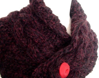 Scarf Cowl Neck Warmer Handknit Black and Red Cabled SALE