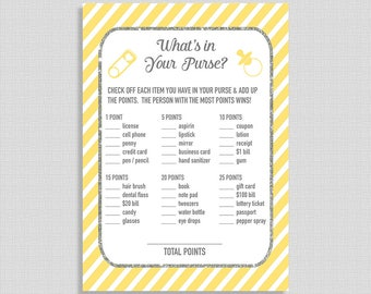Yellow What's In Your Purse Baby Shower Game, Yellow Stripe Baby Shower Game, Gender Neutral, INSTANT PRINTABLE