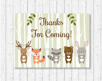 Woodland Forest Animal Party Favor Tags / Thank You Tags / Woodland Baby Shower / Gender Neutral / Printable INSTANT DOWNLOAD A187