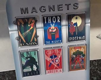 Superhero Fridge Magnet Choice. Art Deco Designs. Hulk, Iron Man & More